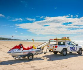 Beach rescue vehicle Stock Photo
