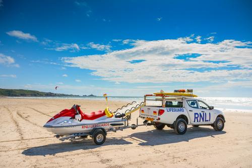 Beach rescue vehicle Stock Photo