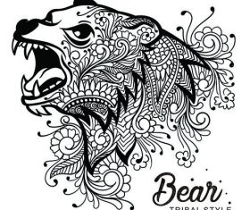 Bear head tribal style Hand drawn vector