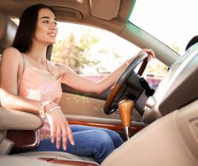 Beautiful woman driving Stock Photo 01