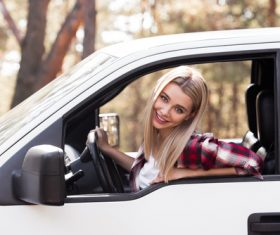 Beautiful woman driving Stock Photo 02