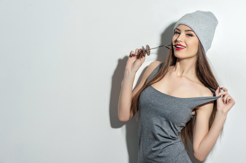 Beautiful woman wearing grey T shirt Stock Photo 01