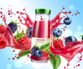 Berry juice advertising poster design vector 01