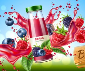 Berry juice advertising poster design vector 02
