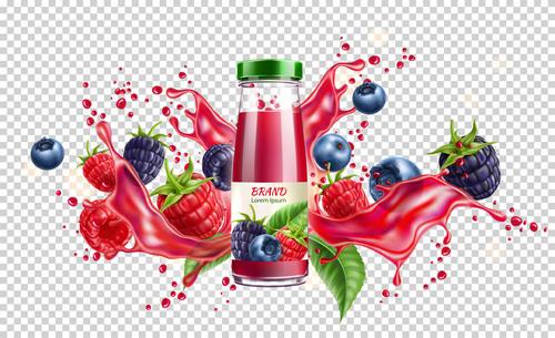 Berry juice splash vector illustration