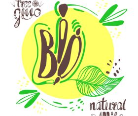 Bio design and vegan healthy lifestyle vector 02
