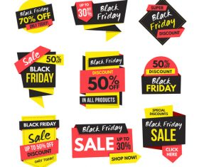 Black Friday Sale Origami banners vector 01