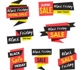 Black Friday Sale Origami banners vector 02