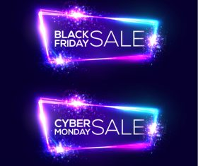 Black Friday sale banner with shiny neon vector