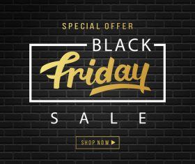 Black Friday sale design with wall background vector