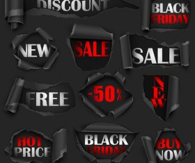 Black Friday sale labels with ripped open paper vector