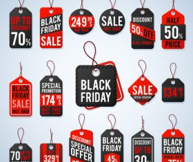 Black Friday tags black with red design vector
