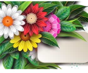 Blank card with beautiful flowers vector 01