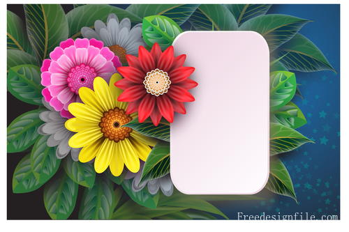 Blank card with beautiful flowers vector 02