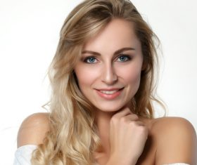 Blonde blue eyes happy woman Stock Photo
