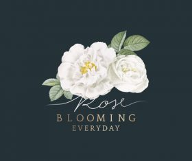 Blooming white flower illustration vector