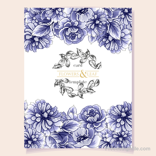 Blue flower decorative with card template vectors 01