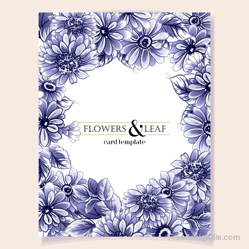 Blue flower decorative with card template vectors 02