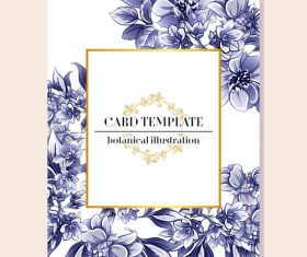 Blue flower decorative with card template vectors 03