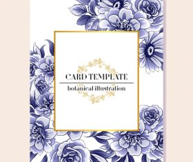 Blue flower decorative with card template vectors 04
