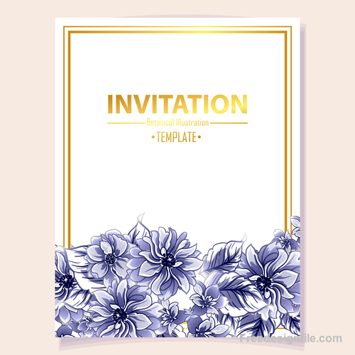 Blue flower decorative with card template vectors 05