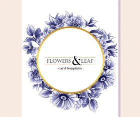 Blue flower decorative with card template vectors 07