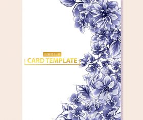 Blue flower decorative with card template vectors 08