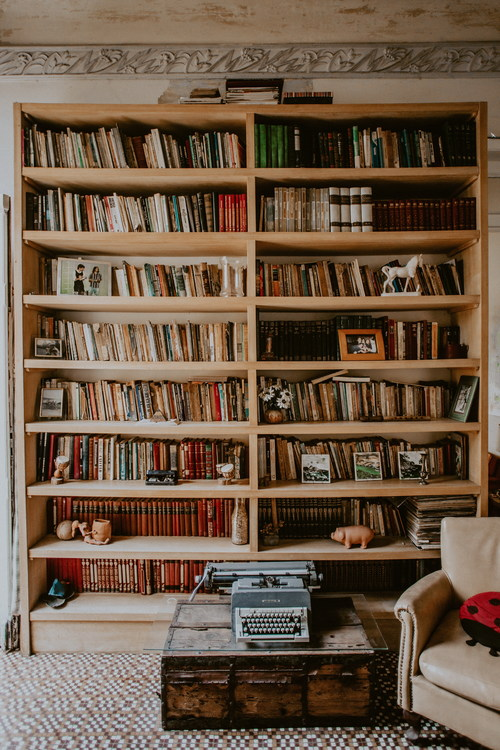 Book placed on the living room shelf Stock Photo