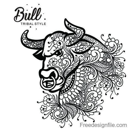 Bull head tribal style Hand drawn vector
