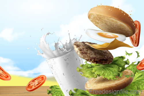 Burger poster with flyer template vector 02