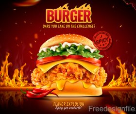 Burger poster with flyer template vector 03