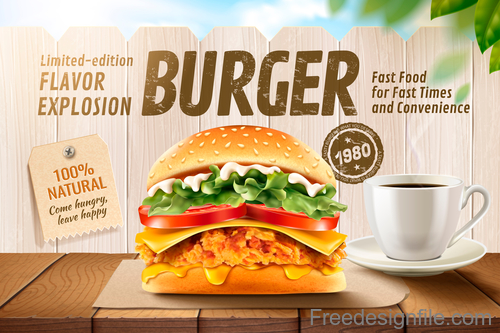Burger poster with flyer template vector 04