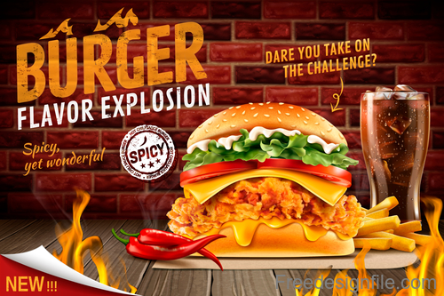 Burger poster with flyer template vector 05