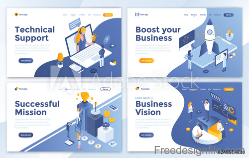 Business website template design collection vector 03