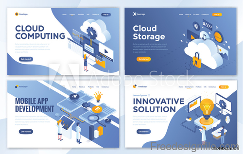 Business website template design collection vector 05