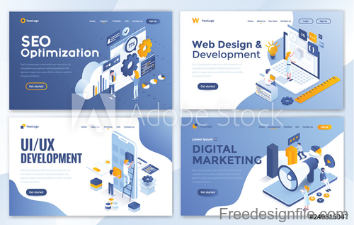 Business website template design collection vector 06