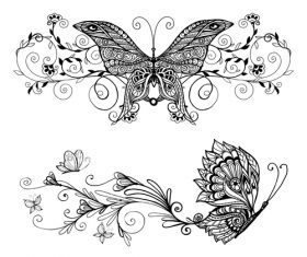 Butterfly vintage decorative design vector