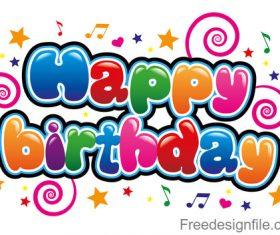 Cartoon styles happy birthday text design vector