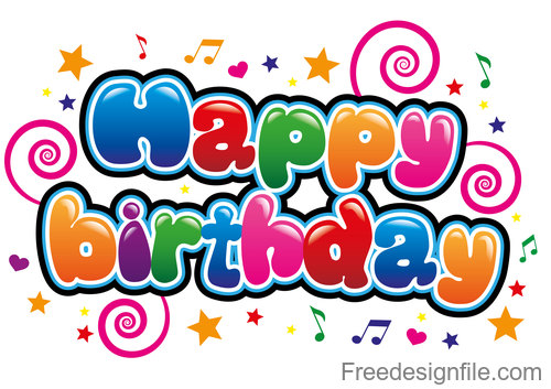 Cartoon styles happy birthday text design vector