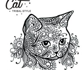 Cat head tribal style Hand drawn vector