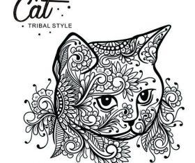 Cat head tribal style Hand drawn vector