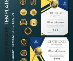 Certificate template with luxury premium badge vector material 01