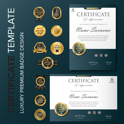 Certificate template with luxury premium badge vector material 02