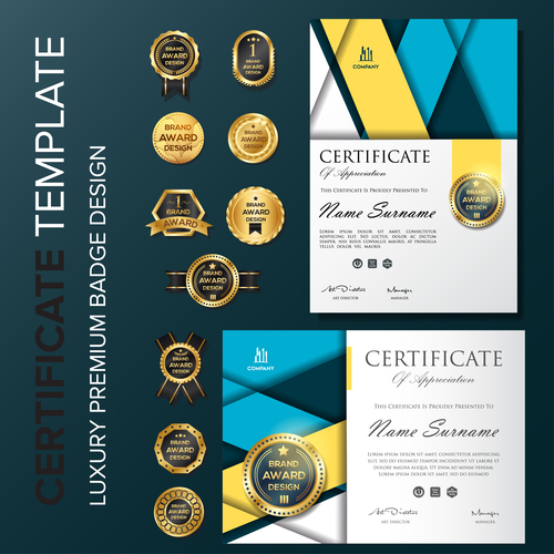 Certificate template with luxury premium badge vector material 03