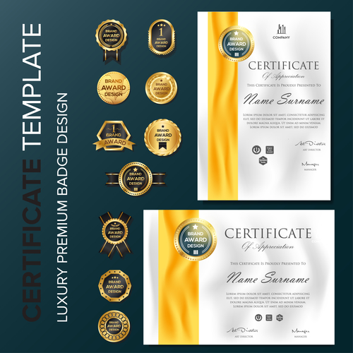 Certificate template with luxury premium badge vector material 04