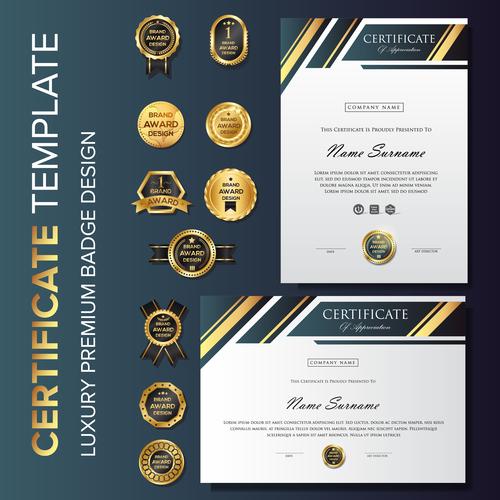 Certificate template with luxury premium badge vector material 05