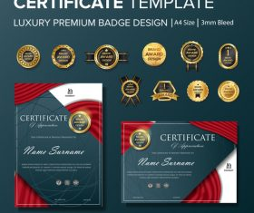 Certificate template with luxury premium badge vector material 06