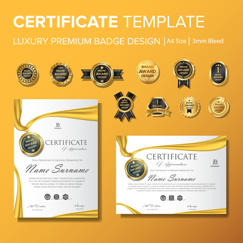 Certificate template with luxury premium badge vector material 07