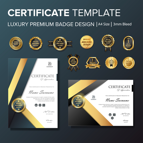 Certificate template with luxury premium badge vector material 08