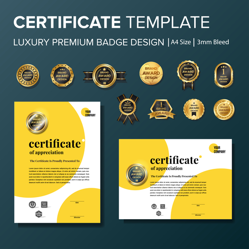 Certificate template with luxury premium badge vector material 09